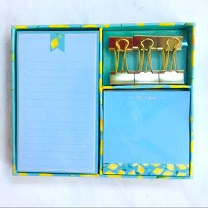 Eccolo Desk Set NWT Lemons-Notepads & Binder Clips